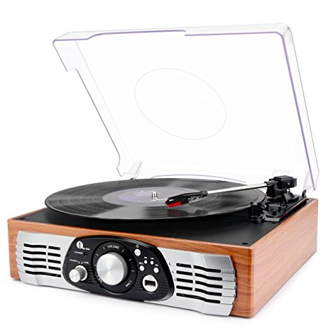 1byone Belt-Drive 3-Speed Stereo Turntable with Built-in Speakers Review