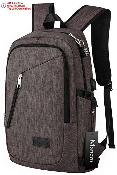 3. Business Laptop Backpack, Mancro 15 15.6 Inch College Backpacks w/ USB Charging Port