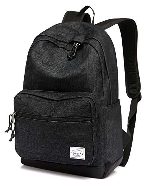 2.Vaschy Unisex Classic Water Resistant School Rucksack Travel Backpack 14Inch Laptop