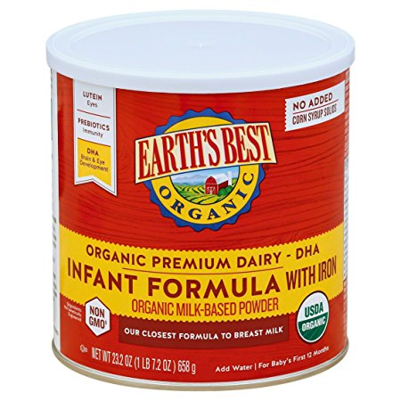 1. Earth's Best Organic Infant Formula with Iron, 23.2 Ounce