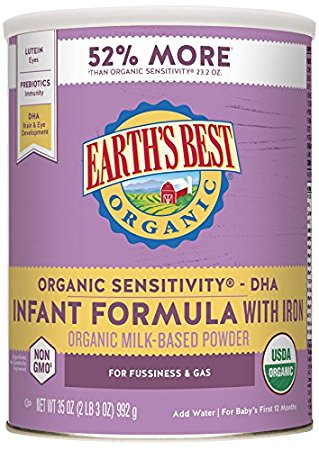 4. Earth's Best Baby Organic Sensitivity Infant Formula with Iron, 35 Ounce