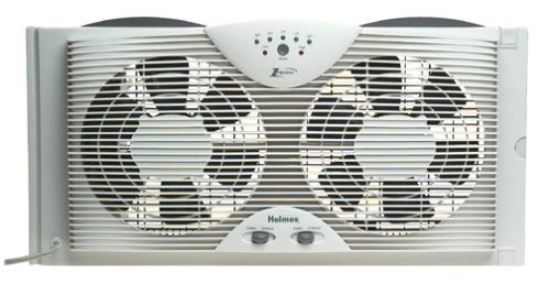 3. Holmes Dual Blade Twin Window fan with One Touch Thermostat Review