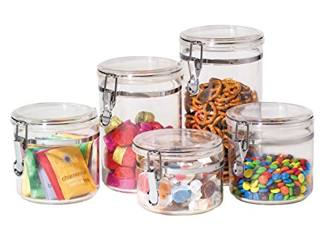 Oggi 9322 5-Piece Acrylic Canister Set with Airtight Clamp Lids-Food Storage Container Review
