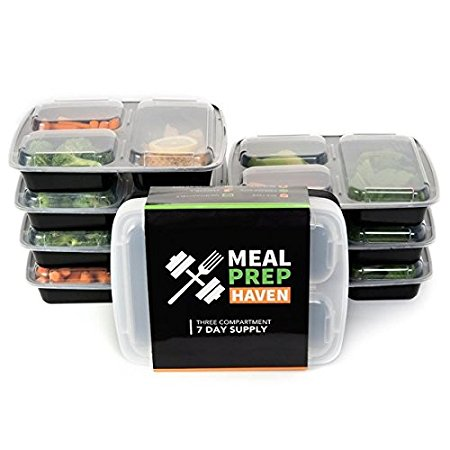 Meal Prep Haven 3 Compartment Food Containers (Set of 7) Review
