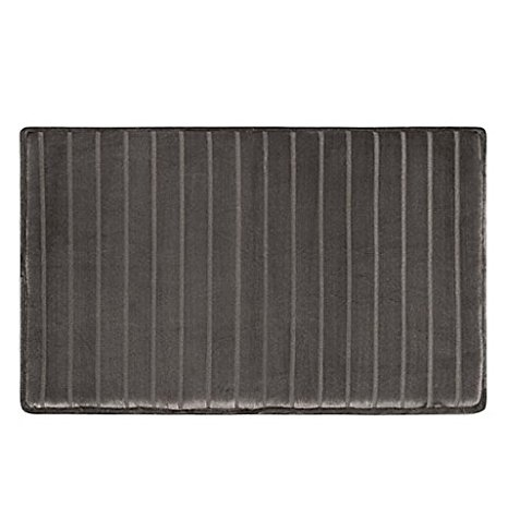 5. MICRODRY Ultimate Luxury SoftLux Memory Bath mat, Charcoal