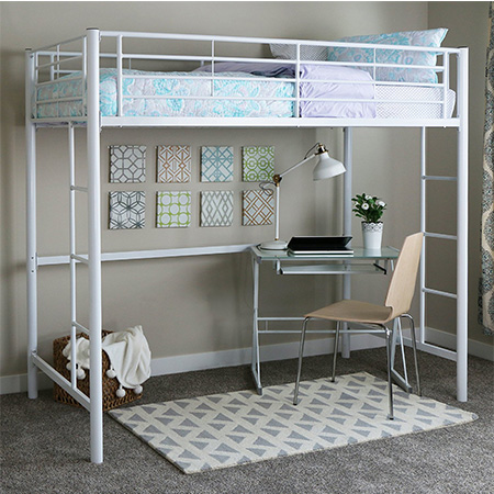 3. Walker Edison White Twin Loft Bed