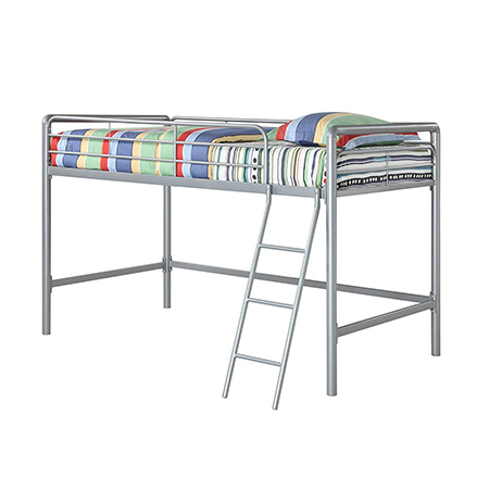 4. DHP Silver Loft Bed Frame with Ladder
