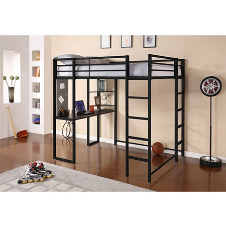 8. DHP Black Full-Size Loft Bed