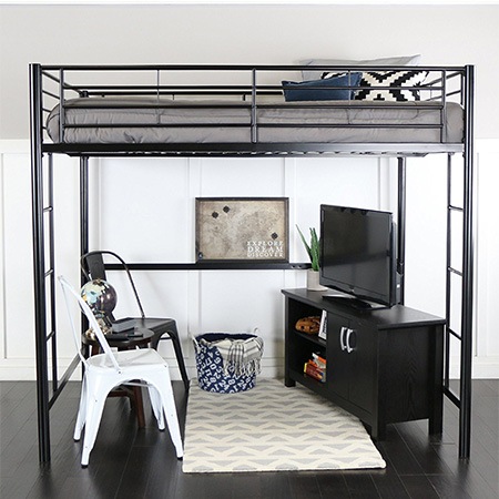 10. WE Furniture Full Size Metal Loft Bed