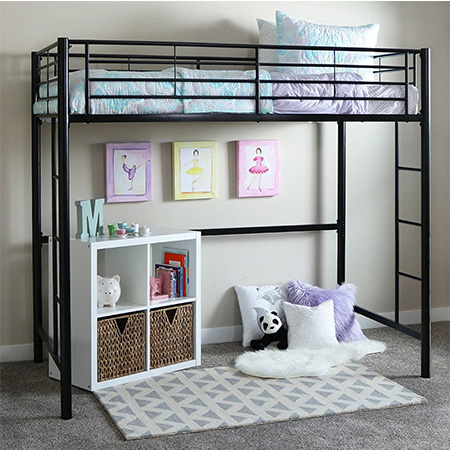 1. SuperIndoor Metal Loft Twin Bed