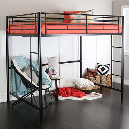 6. Home Accent Furnishings Full Loft Bed (Black Metal Framed)