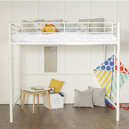 7. Home Accent Furnishings Full Size Loft Bed (White Metal Finish)