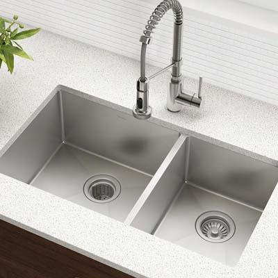 7. Kraus KHU103-33 Undermount Double Bowl Kitchen Sink