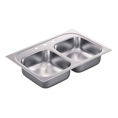 8. Moen G222173 Double Bowl Drop In Sink