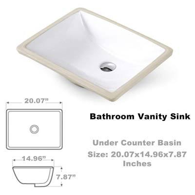 3. VAPSINT Rectangular Undermount Vanity Sink