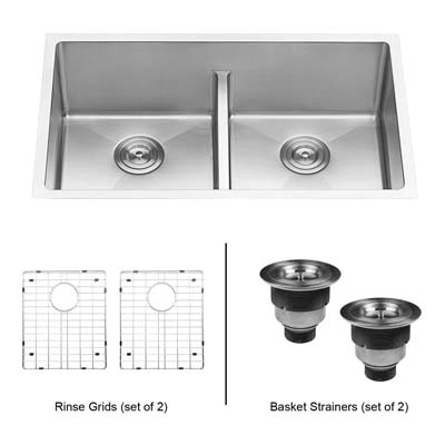 6. Ruvati RVH7355 Undermount Double Bowl Kitchen Sink