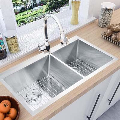 5. MOWA HTD33DO Double Bowl Kitchen Sink