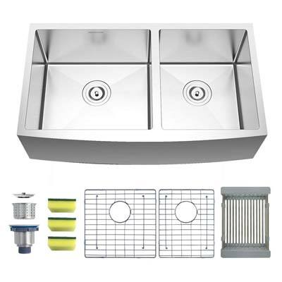 2. MENSARJOR Undermount Double Bowl Kitchen Sink