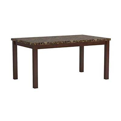10. Coaster Home Furnishings Coaster Dining Table with Marble-Like Top Rich Cherry Finish
