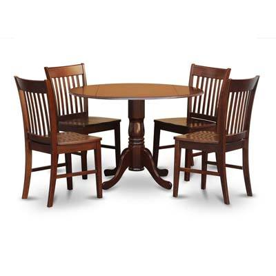 4. East West Furniture DLNO5-MAH-W 5-Piece Kitchen Table Set