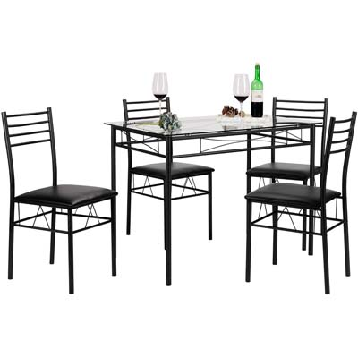 1. VECELO Dining Table with 4 Chairs Black