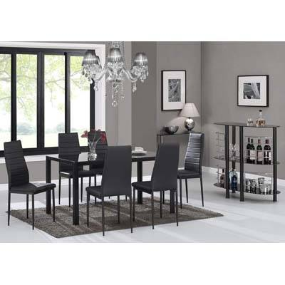 8. IDS Online 7 Pieces Modern Glass Dining Table Set Faux Leather With 6 Chairs Black