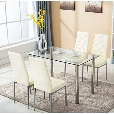 8. Mecor Glass Dining Table Set of 5pieces