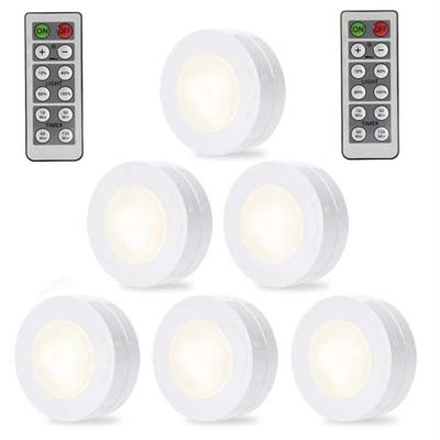 4. SOLLED Wilreless LED Puck Lights - 6 Pack