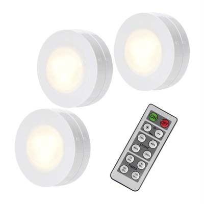 10. SOLLED Wireless LED Puck Light - 3 Pack