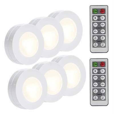 6. LUNSY Wireless LED Puck Lights - 6 Pack