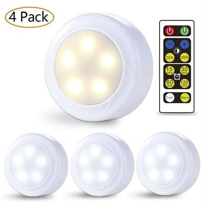 5. Litake Wireless LED Puck Lights - 4 Pack