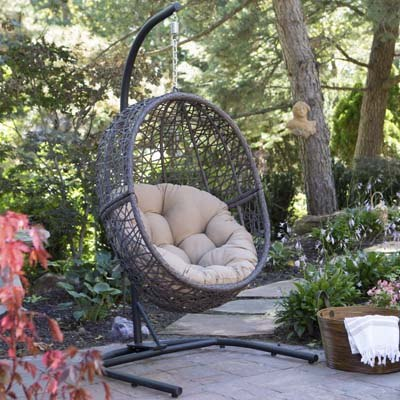 7. Island Bay Hanging Egg Chair with Cushion and Stand