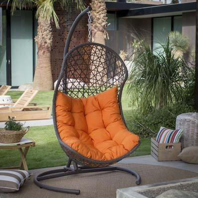 5. Island Bay Resin Wicker Hanging Egg Swing Chair