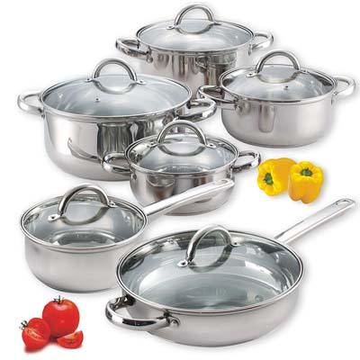 3. Cook N Home NC-00250 12-Piece Cookware Set, Silver