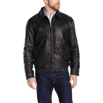 8. Nautica Men's Lambskin Leather Bomber Jacket