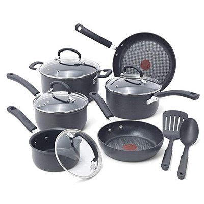 1. T-fal Nonstick Pots and Pans Set, E765SC