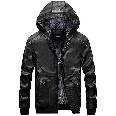 1. chouyatou Men's Stylish Hooded Leather Bomber Jackets