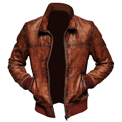 4. ZILLIJ_COM_LTD Men's Lambskin Bomber Leather Jacket