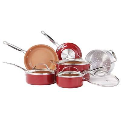 9. BulbHead Red Copper 10 PC Non-Stick Cookware Set