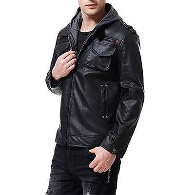 2. AOWOFS Men's PU Faux Leather Jacket with Hood