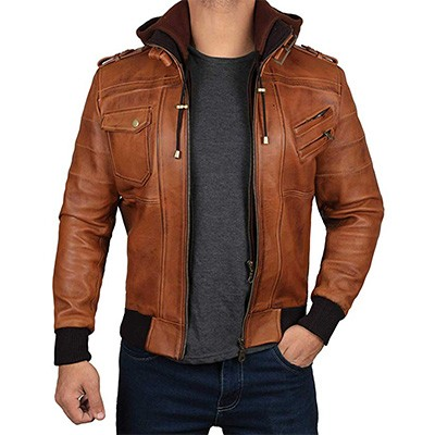 3. fjackets Edinburgh Mens Hooded Leather Jacket