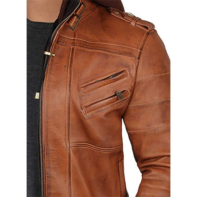5. Decrum Bomber Leather Jacket with Removable Hood