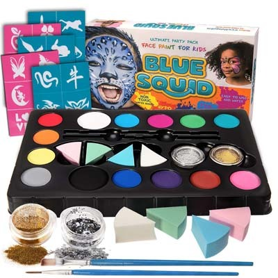 5. Blue Squid Face Paint Kit