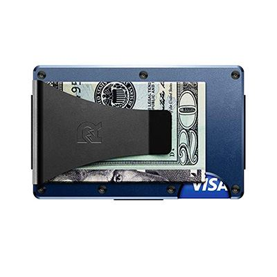 8. The Ridge Authentic Minimalist Metal Wallet – Money Clip (Navy)