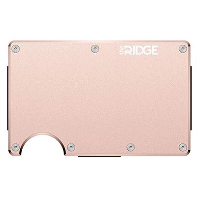 3. The Ridge Authentic Minimalist Metal Wallet – Cash Strap (Rose Gold)