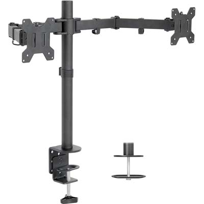 6. VIVO Dual Monitor Desk Mount Stand with C-clamp and Bolt