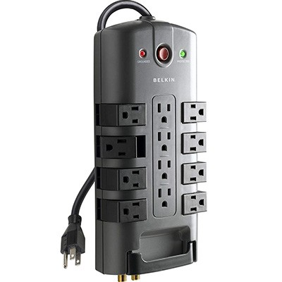 3. Belkin 12-Outlet Power Strip Surge Protector w/8ft Cord (4,320 Joules)