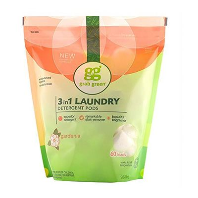 8. Grab Green Natural 3 in 1 Laundry Detergent Pods
