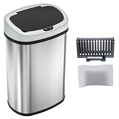 8.Levpet 13-Gallon Touch-Free Trash Can
