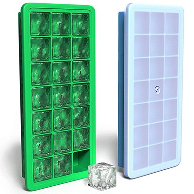 5.Vremi Silicone Ice Cube Trays with Plastic Lids